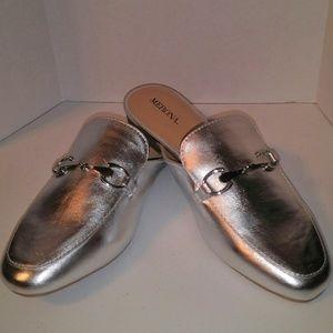 Merona Women's Silver Slip-On Loafer Mules SZ 7.5